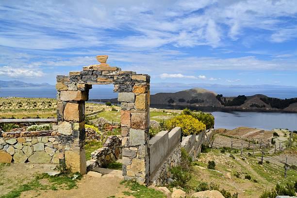 Stone Gate Lake Titicaca between Bolivia and Peru stock photo