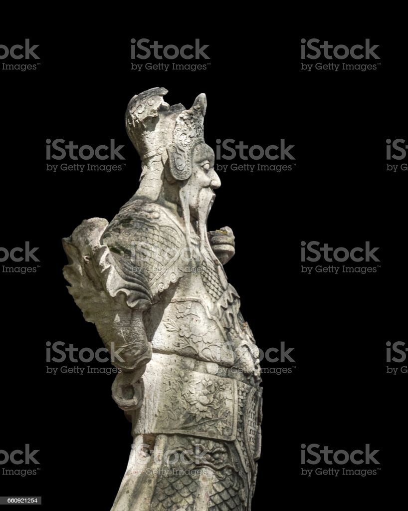 Stone Giant-Chinese Styled Sculpture Isolated on Black Background stock photo
