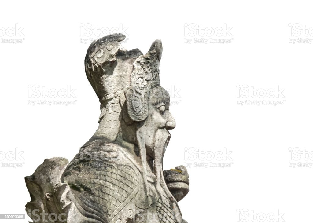 Stone Giant-Chinese Styled Sculpture Isolated on White Background stock photo
