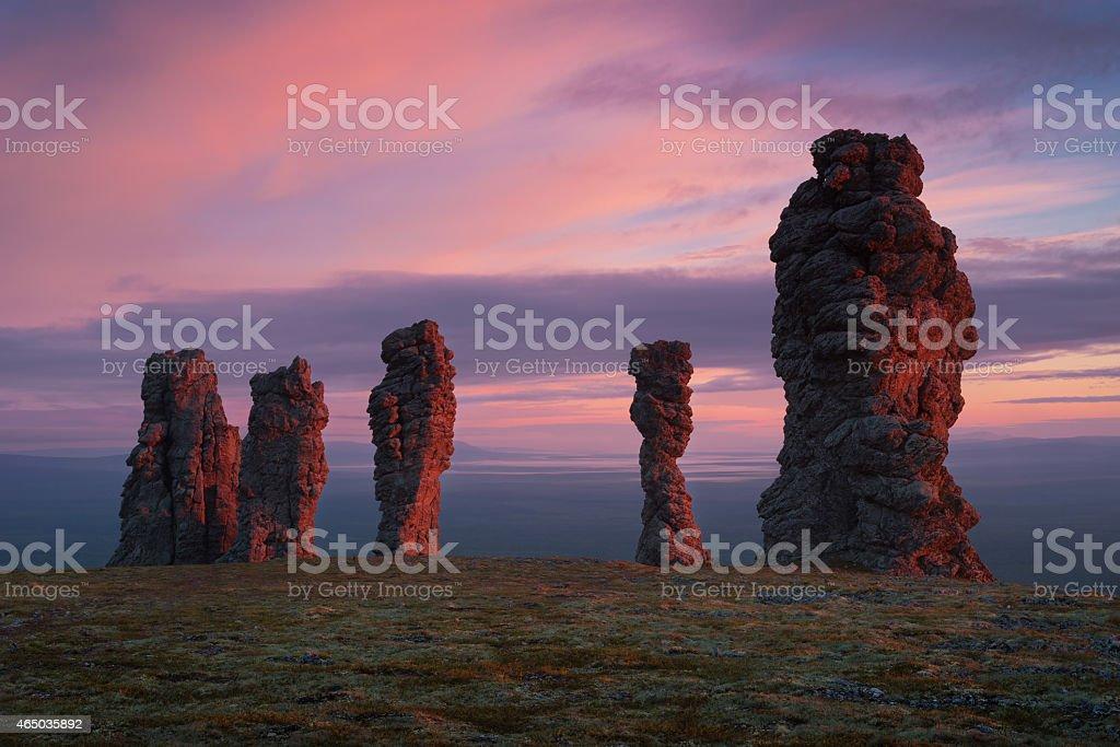 Stone giants of Northern Urals stock photo