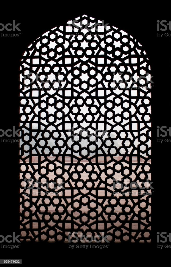 Stone grating at Humayun's Tomb in New Delhi, India stock photo