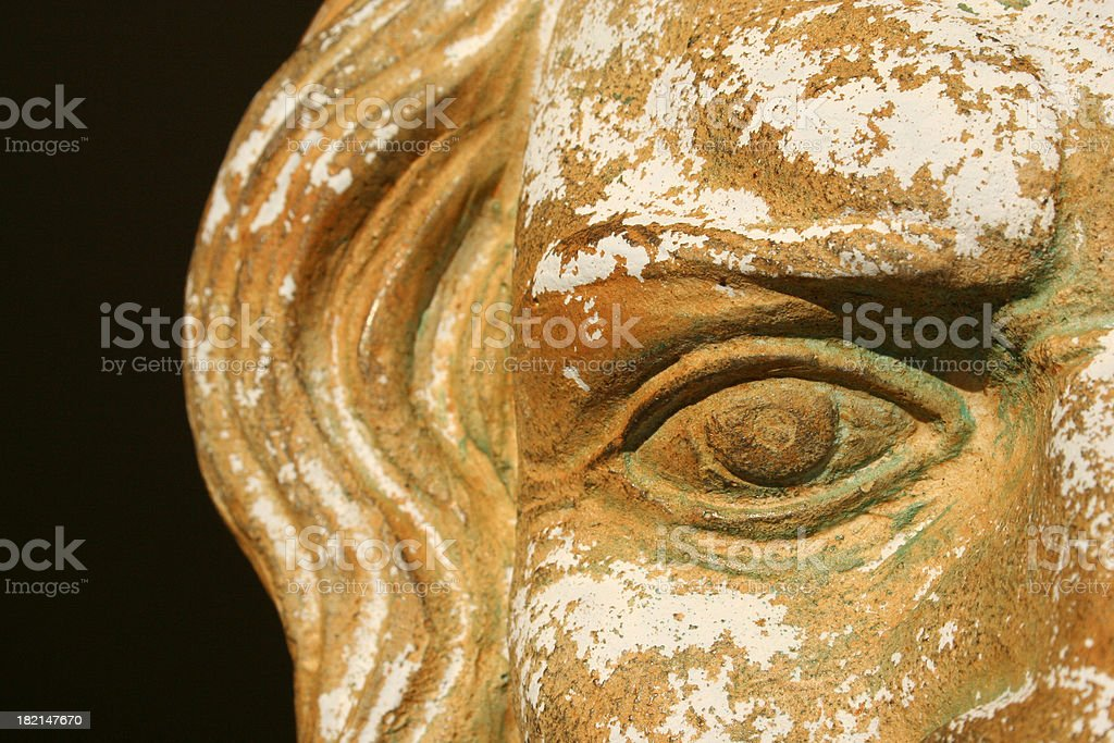 Stone Greek Zeus Mask Detail Vision into the past stock photo