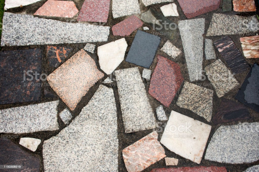 Stone ground and marble background on walkway at outdoor