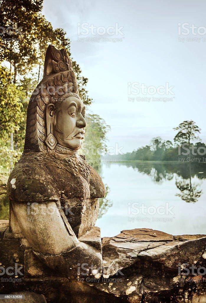 Stone Head in Angkor Wat, Cambodia stock photo