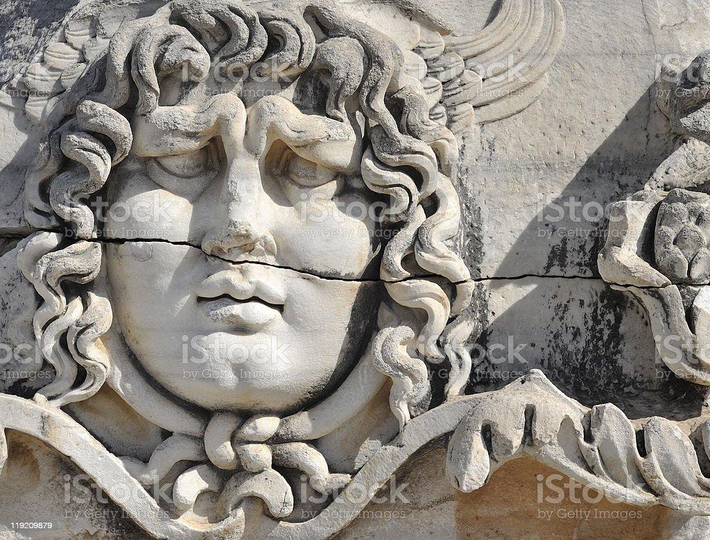 Stone Head of Medusa at Didyma royalty-free stock photo
