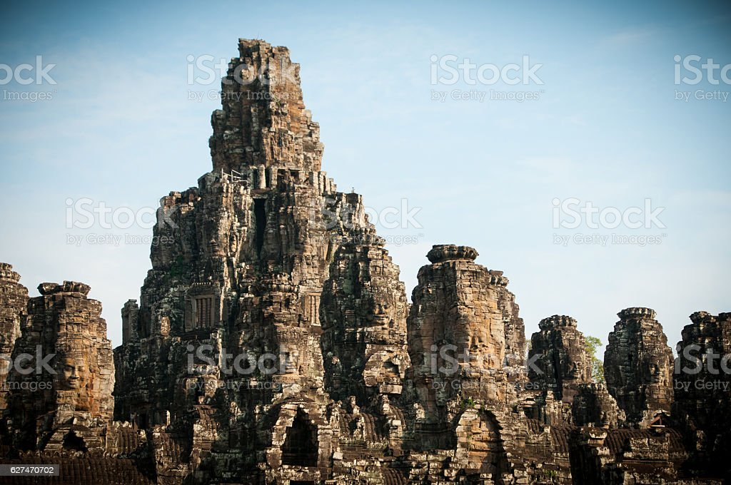 Stone heads, Bayon Temple in Angkor Thom, Siem Reap, Cambodia. stock photo