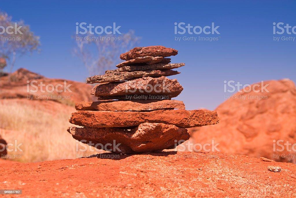 Stone heap Australian Outback Karijini National Park stock photo