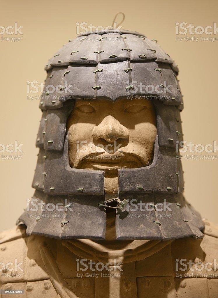 Stone helmet of a terracotta warrior from  Xian royalty-free stock photo