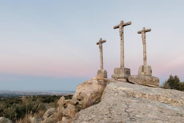 Stone Hill of crosses stock photo