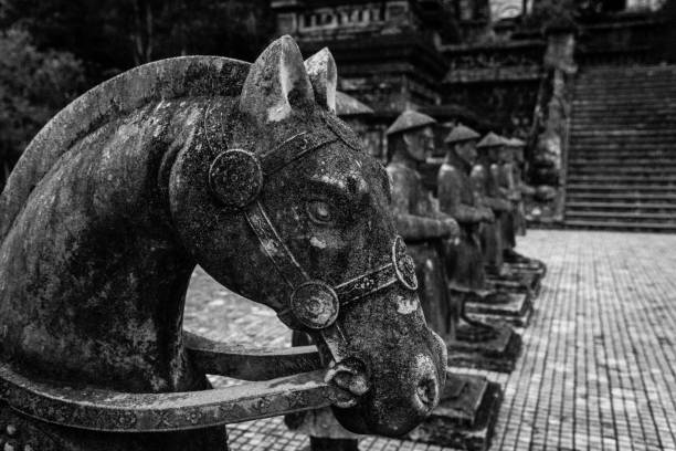Stone horses in Khai Dinh tomb at Hue Vietnam. Black and white Stone horses in Khai Dinh tomb at Hue Vietnam. Black and white khai dinh tomb stock pictures, royalty-free photos & images