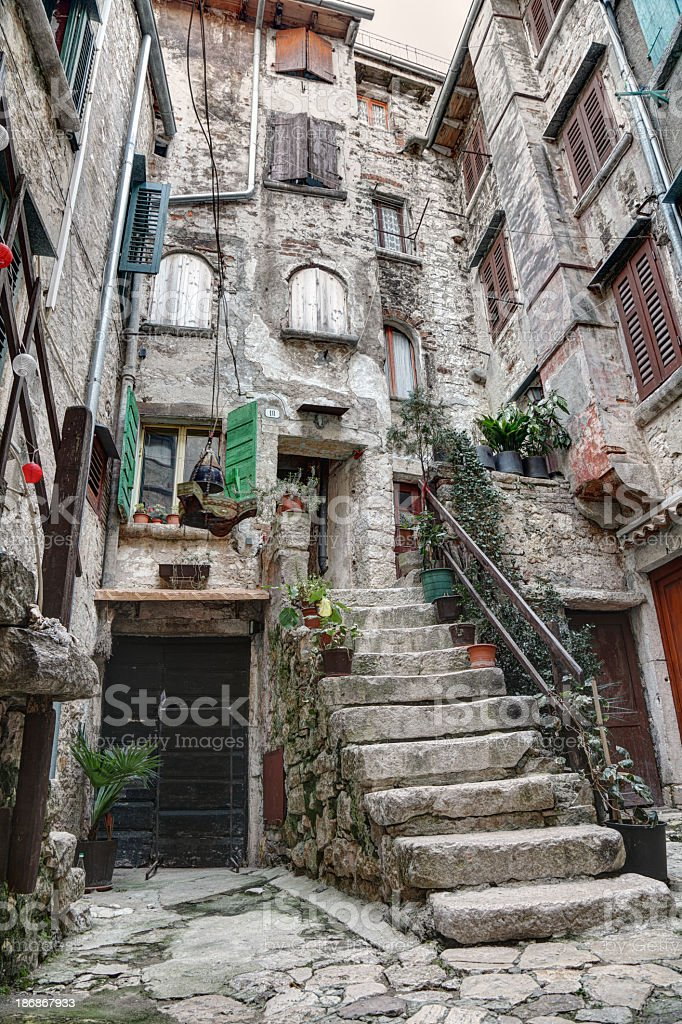 Stone house in the old town of Rovinj royalty-free stock photo
