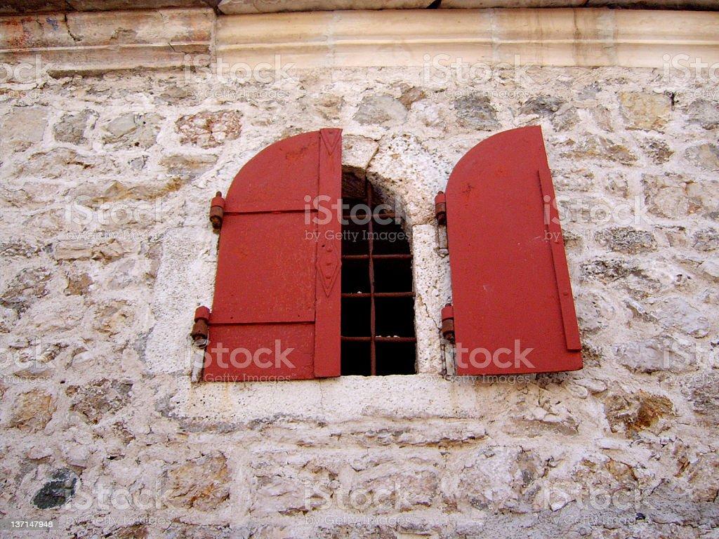 Stone house old window royalty-free stock photo