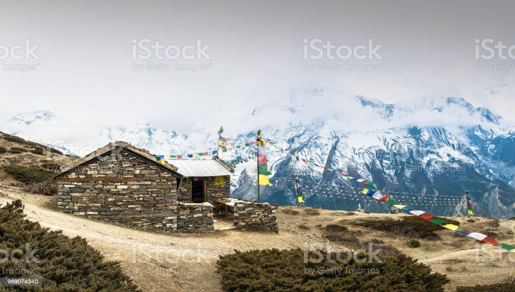 Stone house on the trail to the Ice lake, Nepal. стоковое фото
