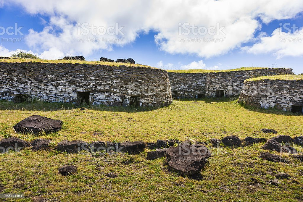 Stone Houses in Orongo Village, Easter Island, Chile stock photo