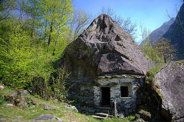 Stone hut stock photo