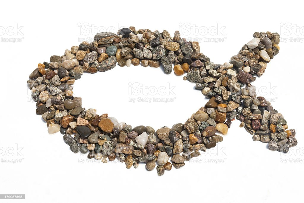 Stone Ichthus stock photo