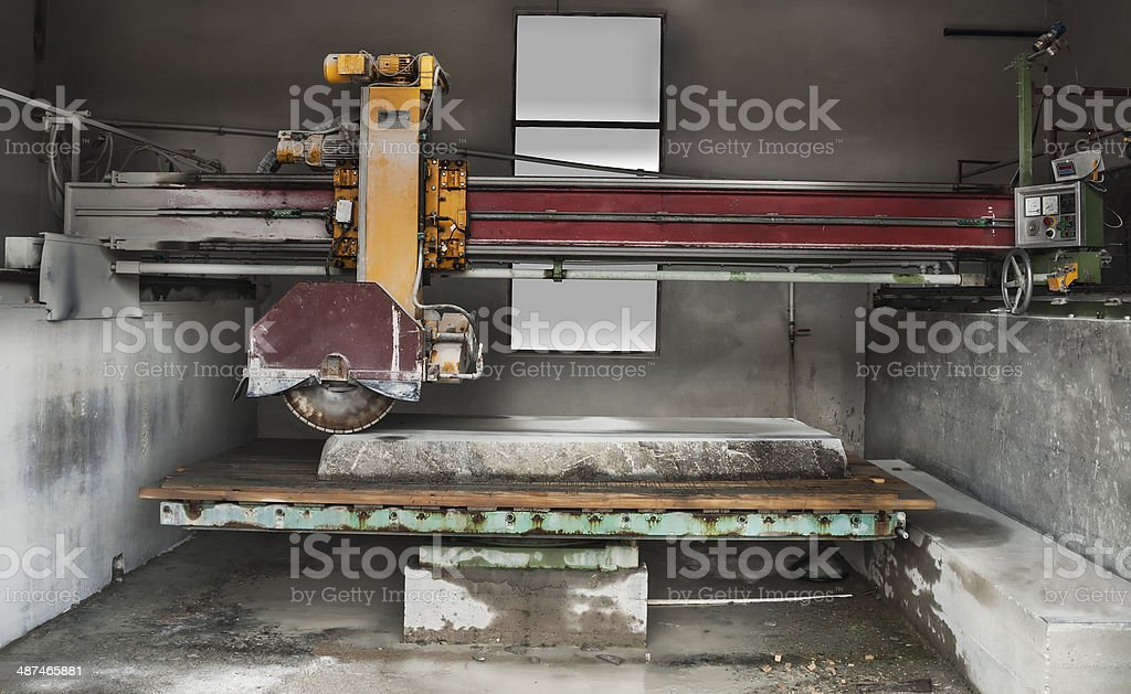 Stone industry - cutting line in saw mill stock photo