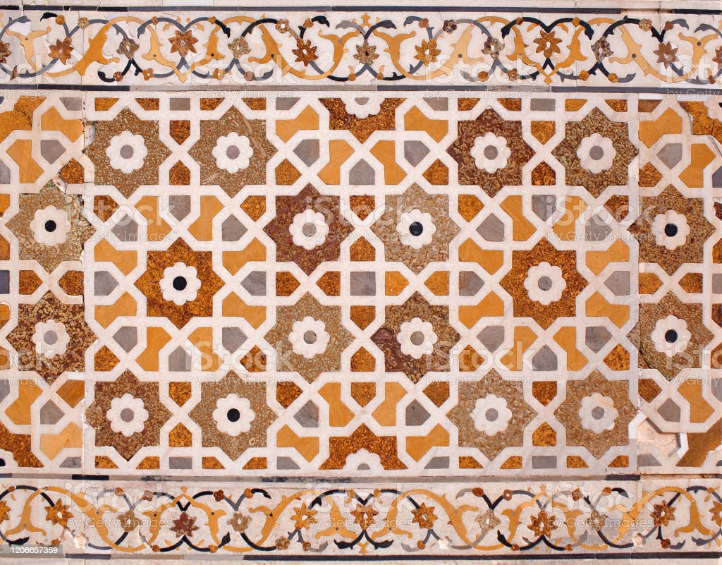 Stone inlay at Itimad-Ud-Daulah tomb in Agra, India Details of marble surface with stone inlay at Itimad-Ud-Daulah tomb in Agra, India Agra Stock Photo