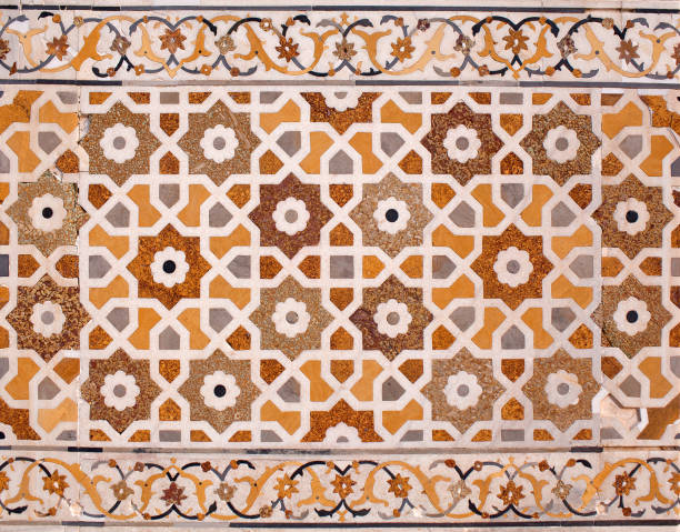 Stone inlay at Itimad-Ud-Daulah tomb in Agra, India stock photo
