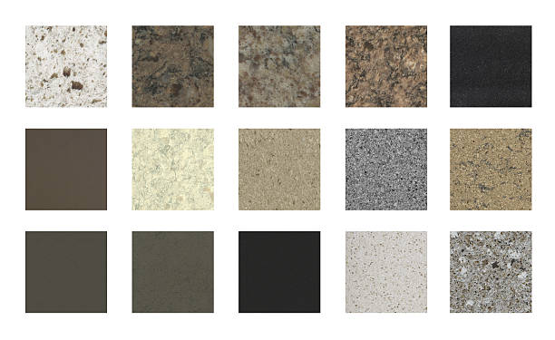 Stone kitchen counter tops and floor tile color samples - Photo