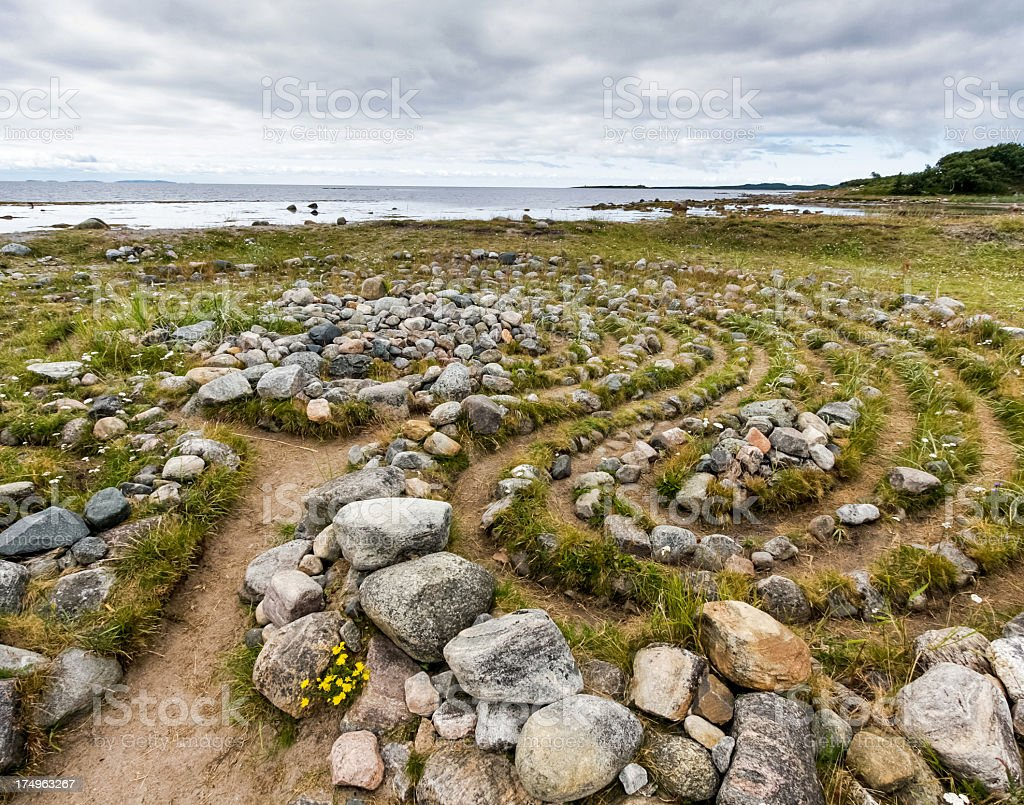 Stone labyrinth stock photo