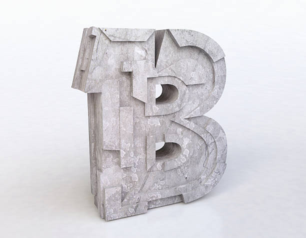stone letter  b - stone font stock photos and pictures