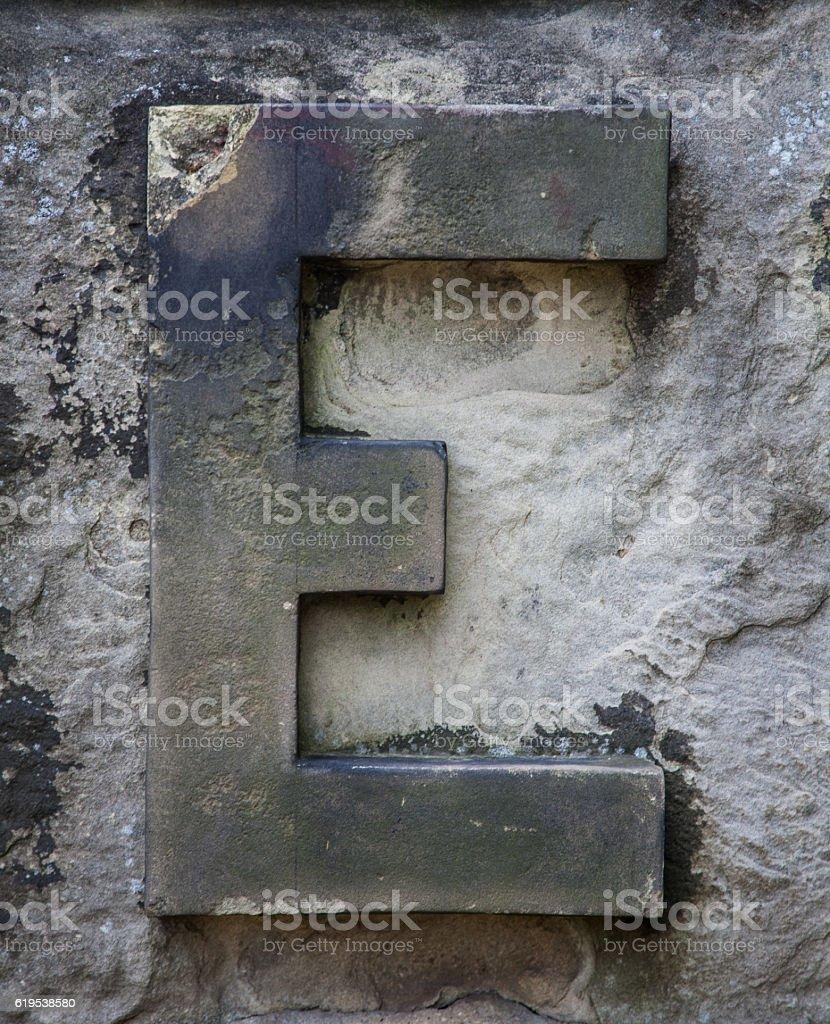 Stone Letter E stock photo