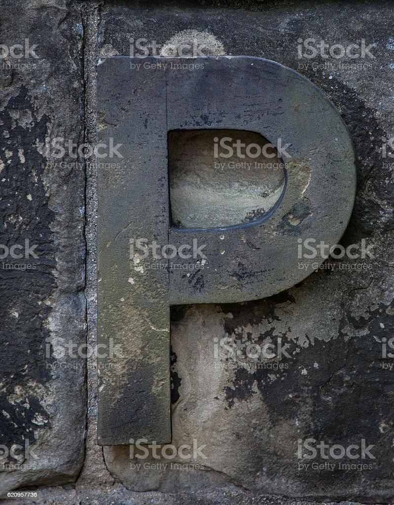 Stone Letter P stock photo