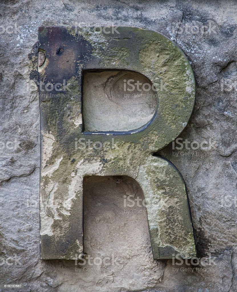 Stone Letter R stock photo