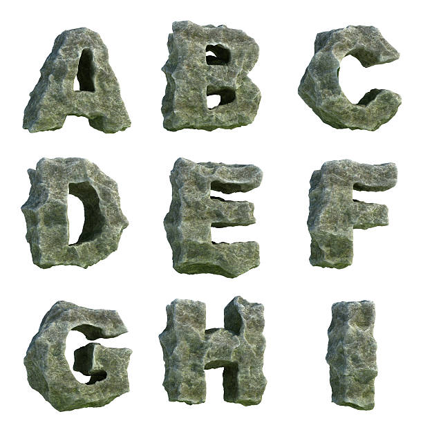 stone letters (part 1 of 3) - stone font stock photos and pictures