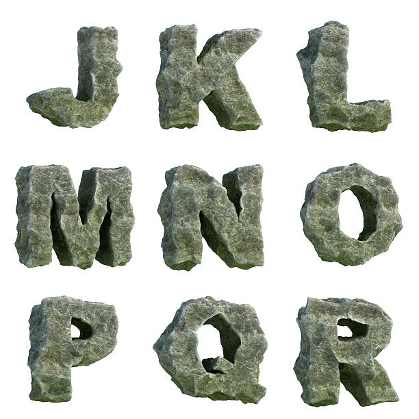 stone letters (part 2 of 3) - stone font stock photos and pictures