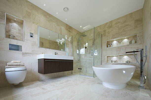 stone-badezimmer - badezimmermöbel holz stock-fotos und bilder