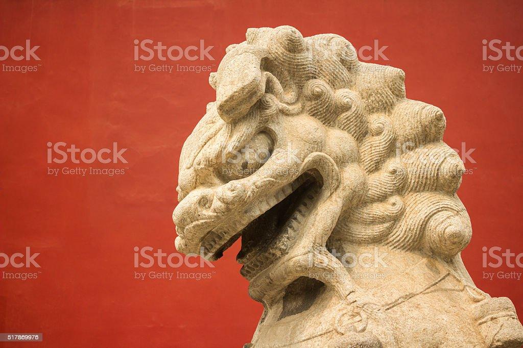 Stone lion at Beijing, China stock photo