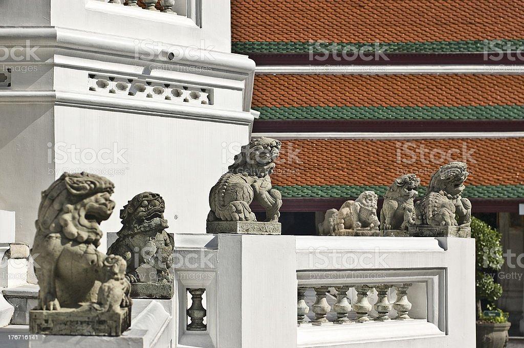 Stone Lion Figure in Bangkok Royal Palace royalty-free stock photo