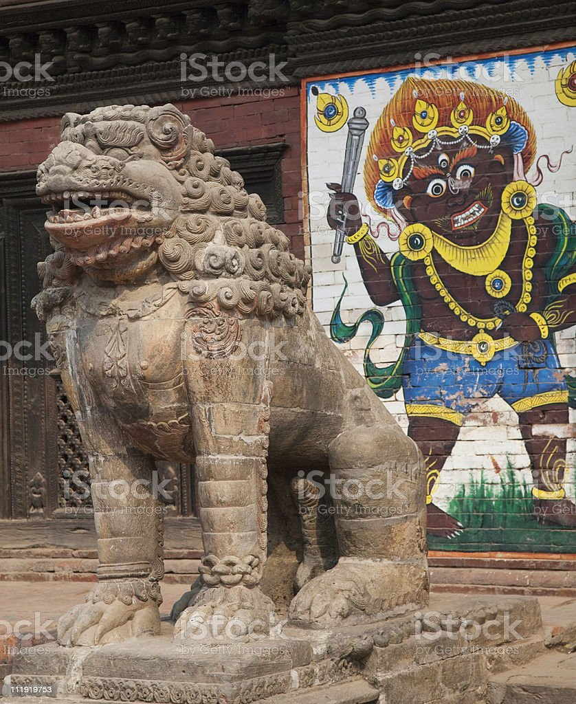 Stone Lion Patan Durbar Square Nepal royalty-free stock photo