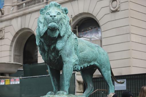 Lion statue in the city landmark