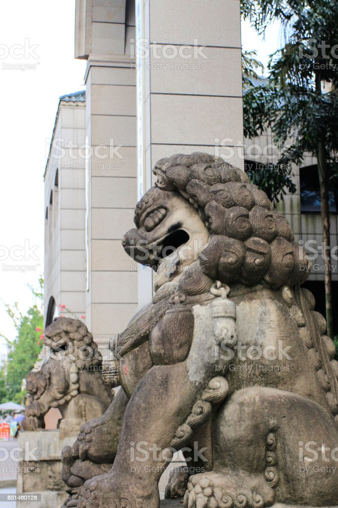 Stone lion sculpture in China stock photo