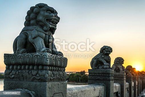 Stone Lion Statue at Lugou Bridge, Beijing, China