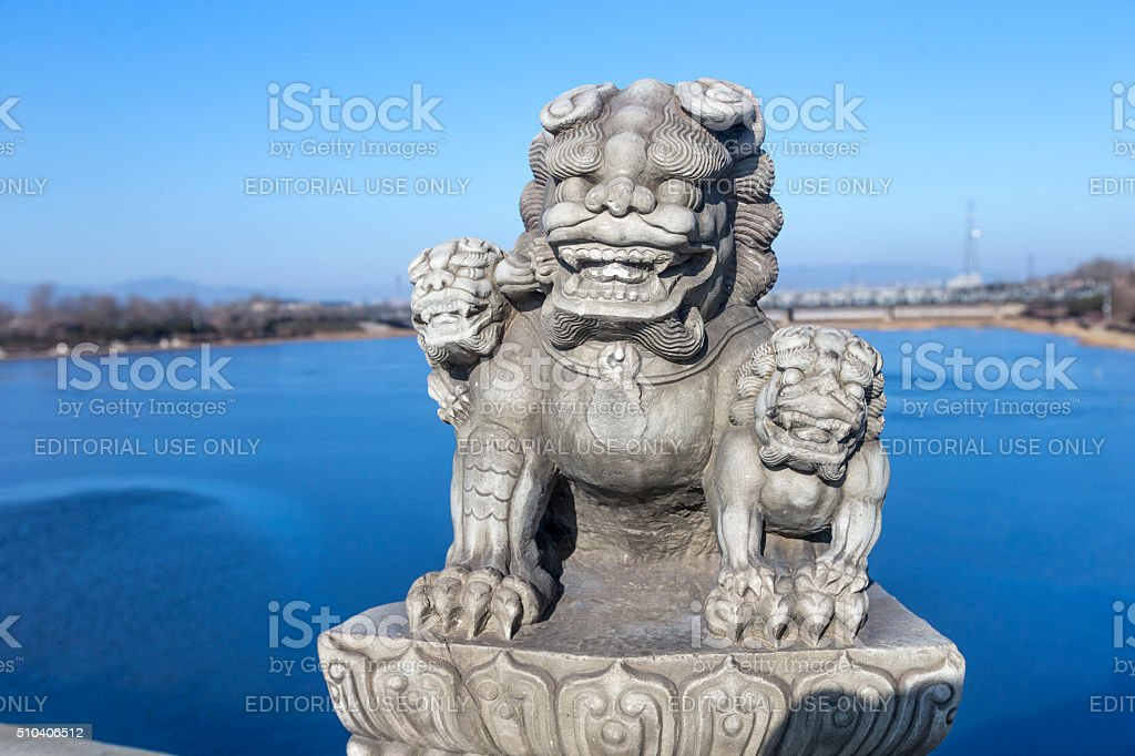 Stone Lions on the Beijing Marco Polo Bridge stock photo