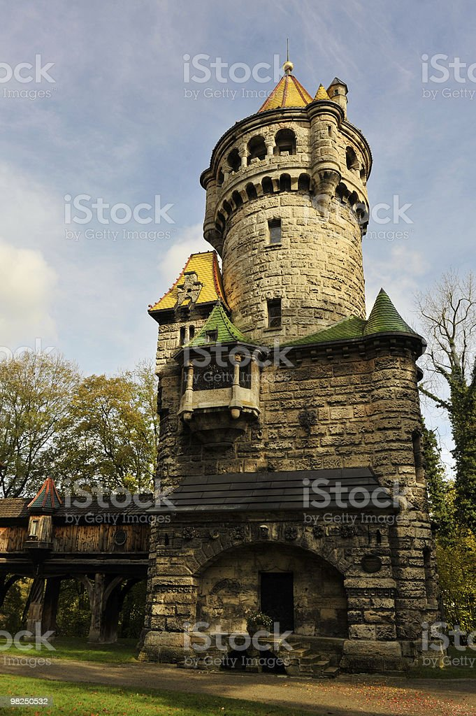 Stone lookout tower royalty-free stock photo