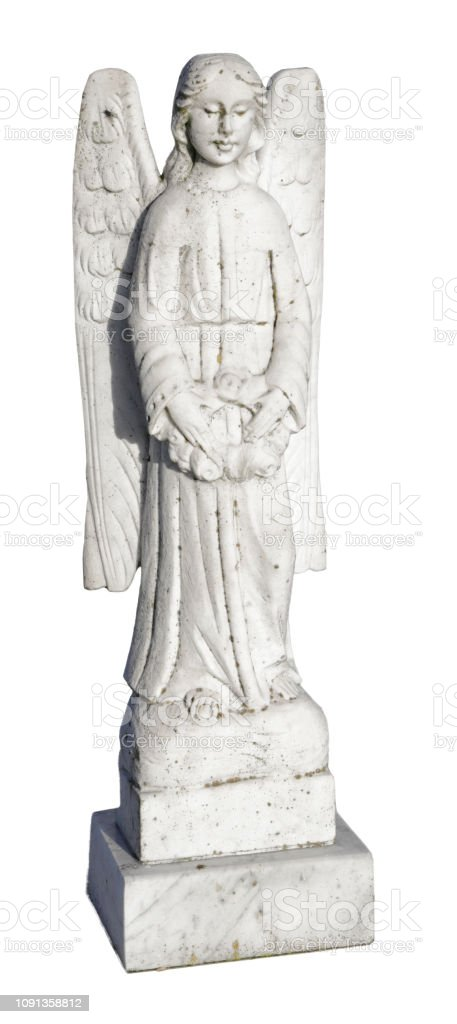 Stone marble angel statue isolated on white holding roses stock photo