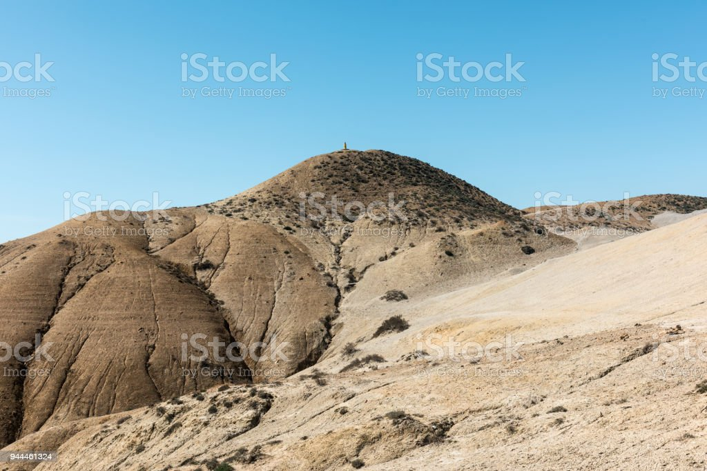 Stone mark of height on hill stock photo