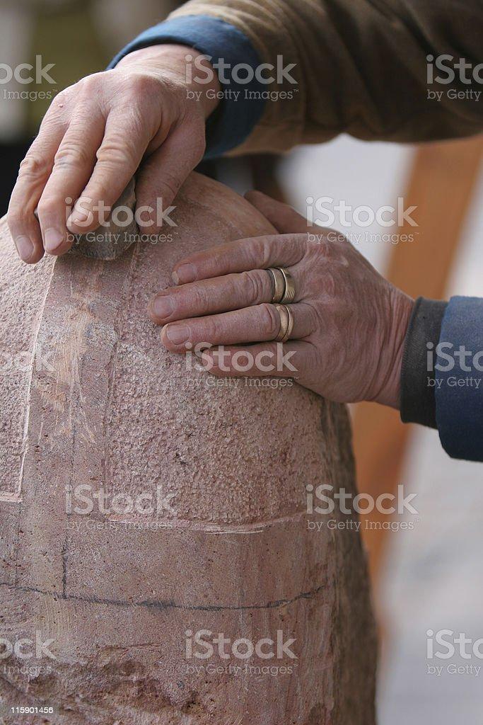 stone mason working royalty-free stock photo