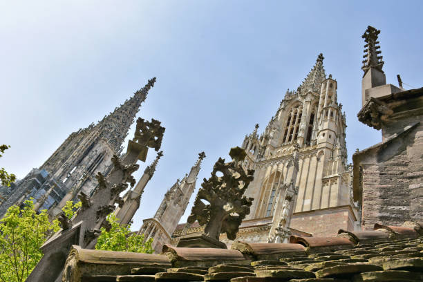 Stone masonry on Ulm Minster viewed from south Stone masonry on Ulm Minster viewed from south, tallest church in the world ulm stock pictures, royalty-free photos & images