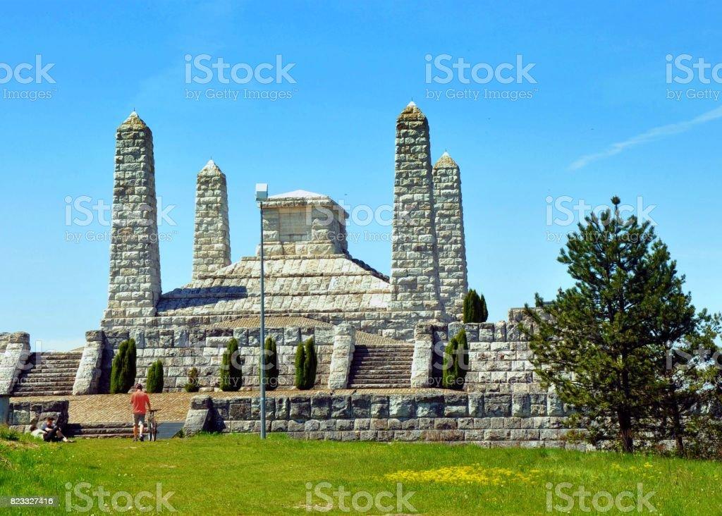 Stone memorial monument Bradlo, Stefanik tomb stock photo