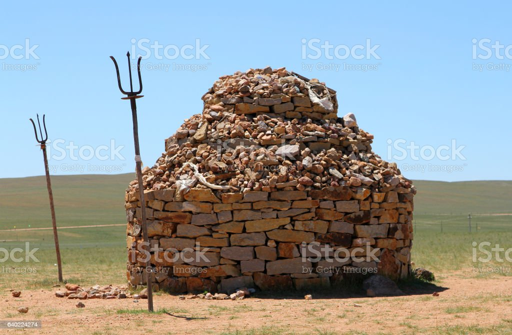 stone mound in steppe of Inner Mongolia, China stock photo