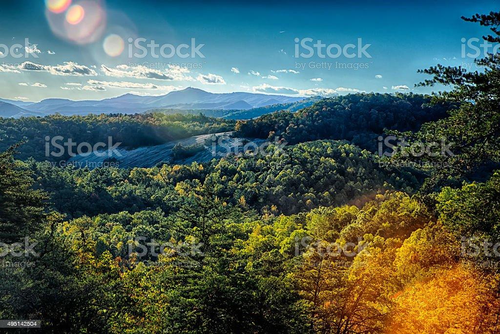 stone mountain north carolina scenery during autumn season stock photo