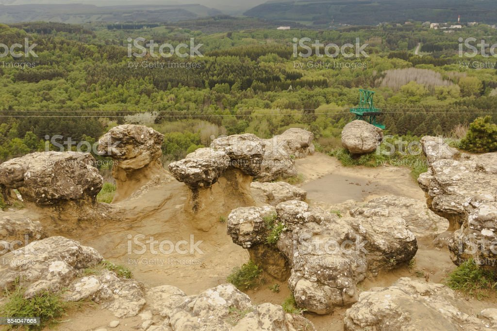 Stone mushrooms on top of a mountain in the Spa Park.Kislovodsk.North Caucasus stock photo