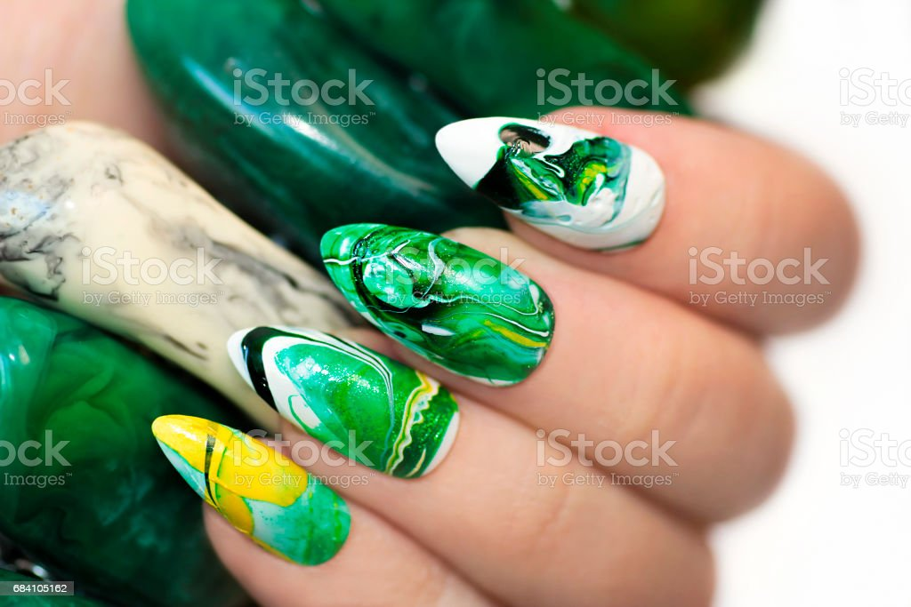 Stone Nail Design In White And Green Colors Stock Photo More