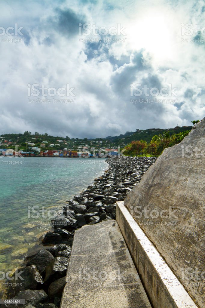 Stone Object with cloudy sky stock photo